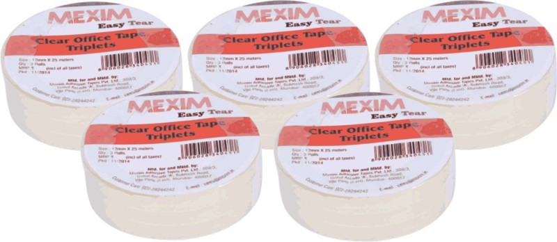 Mexim Office Easy Tear Clear 12 mm Single Sided Cello Tapes(Set of 5, Transparent)