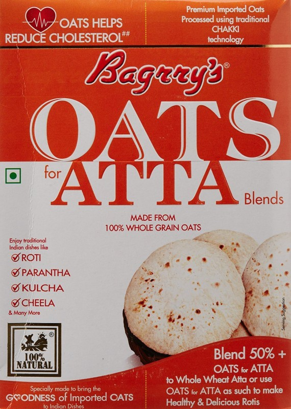 Bagrry's Oats Original Grain Form Cereal(Oats For Atta (pack of 2))