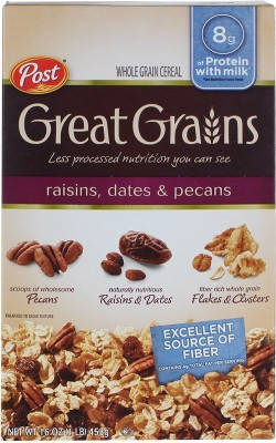 Post Whole Grain Wheat Flake Cereal(Raisins, dates and pecans)
