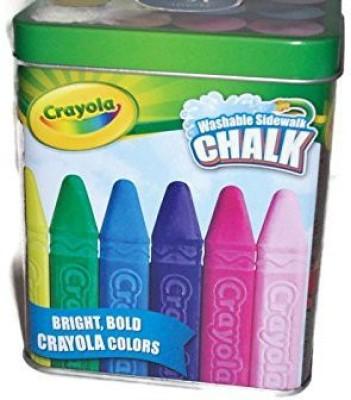 Crayola Crayola Washable Sidewalk Chalk metal tin box outdoor coloring sidewalk chalk(16 Sticks)