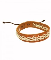 Sanaa Creations ELEGANT GOLDEN BROWN LEATHER BRACELET Alloy Beaded Charm best price on Flipkart @ Rs. 349