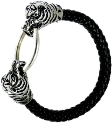 Sanaa Creations Men,s Braided Leather Bracelet, Natural Antique Black With Lions Head Toggle Clasp Glass Beaded Charm
