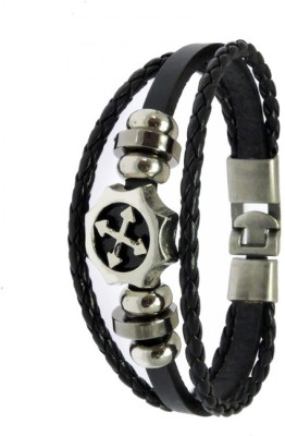 Sanaa Creations STYLISH BLACK STUD LEATHER WRIST BAND Alloy Beaded Charm at flipkart