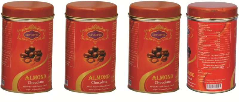 Skylofts Almond Tin (Pack of 4) Chocolate Bars(Pack of 1, 400 g)
