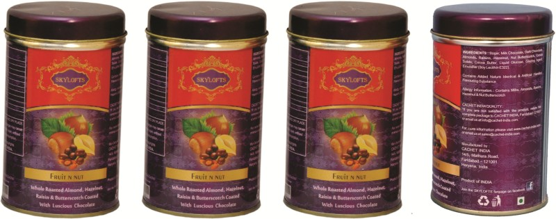 Skylofts Fruit N Nut Tin (Pack of 4) Chocolate Bars(Pack of 1, 400 g)