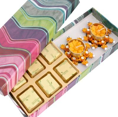 Ghasitaram Gifts Pink Printed Sugarfree Hamper with Orange T-lites Chocolate Bars