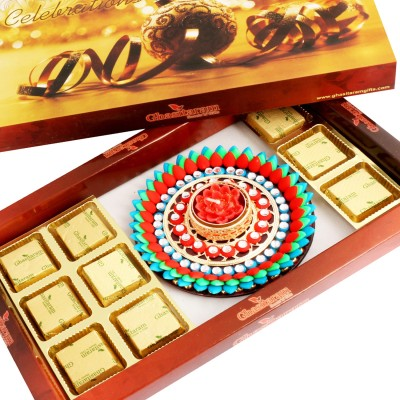 Ghasitaram Gifts Brown Hamper with Muticolour Floater Chocolate Bars