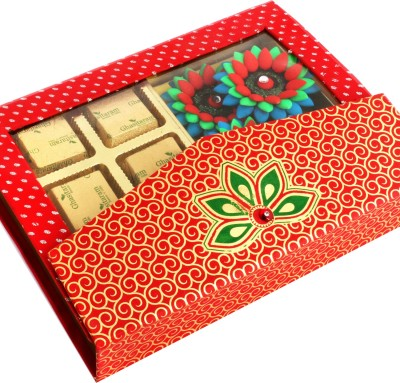 Ghasitaram Gifts Pink Designer Sugarfree Hamper with 4 Floaters Chocolate Bars