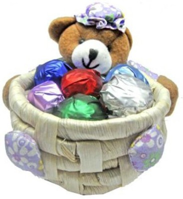 Skylofts Cute Teddy Basket (Set of 2 Baskets) Chocolate Bars(Pack of 1, 220 g)