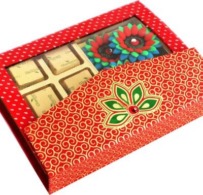 Ghasitaram Gifts Pink Designer Hamper with 4 Floaters Chocolate Bars