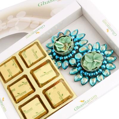 Ghasitaram Gifts White Box Sugarfree Hamper with Blue T-lites Chocolate Bars