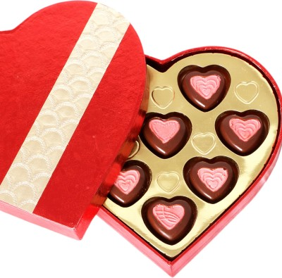 Ghasitaram Gifts Red and Gold Heart Box Chocolate Bars(Pack of 8, 100 g)