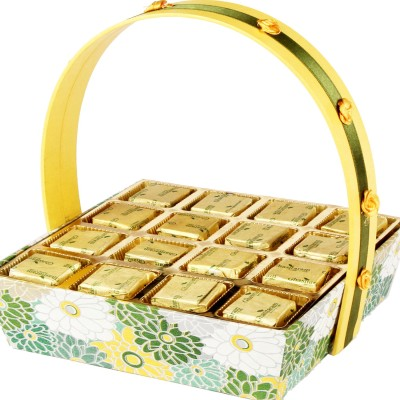 Ghasitaram Gifts Green Basket with Mixed Nuts Chocolate Bars