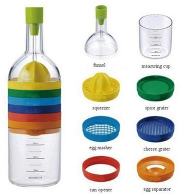 Vmore Multifunction Egg Separator Bottle Shape 8 in 1 Grater Juicer Bottle Funnel Set Flower Vase Chopper