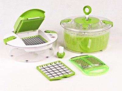 Shopper52 Salad Chef Green and Clear Kitchen Tool Set - MSLDC Chopper
