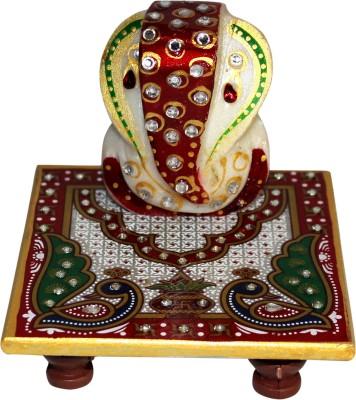 MadeInIndiaGallery Ganesha Marble All Purpose Chowki(Multicolor)