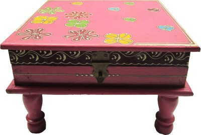 The Roots Collection Wooden All Purpose Chowki(Pink, Pack of 1)
