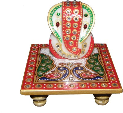 Bangalore Handicrafts Marble Ganesh-Peacock Stoneware All Purpose Chowki
