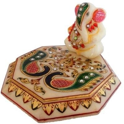 Traditional Rajasthan Generous Lord Ganesha on Meenakari chowki_MPC004 Marble Pooja Chowki