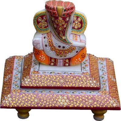 Traditional Rajasthan Pagdi Ganesh Marble Pooja Chowki