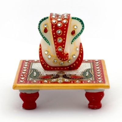 Kaushal Creation Marble Ganesh Marble All Purpose Chowki