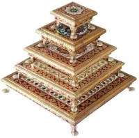 Archi Wooden All Purpose Chowki(Multicolor)