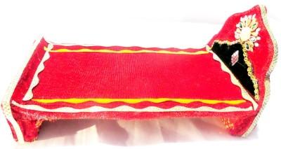 Sanshiv Wooden Krishna Bed Wooden Pooja Chowki(Red)