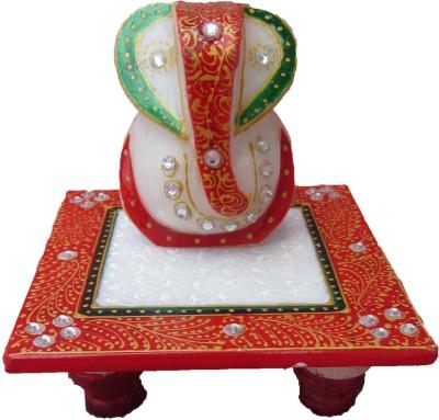 eCraftIndia Lord Ganesha on Red Marble Pooja Chowki