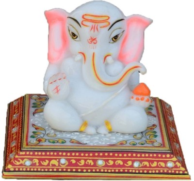 eCraftIndia Marble Lord Ganesha Marble All Purpose Chowki
