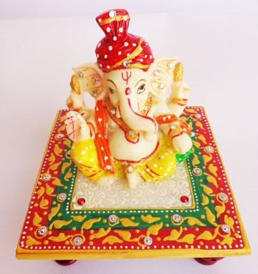 SR Crafts Chowki Ganesha Marble All Purpose Chowki