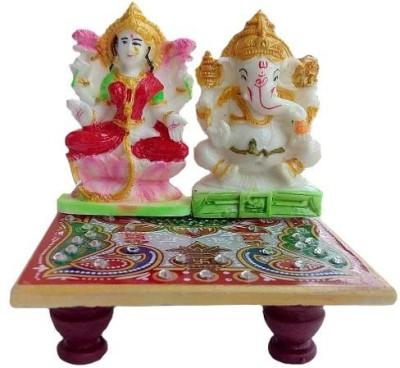 Gripsestore Meenakari Ganesh & Laxmi Statue Marble All Purpose Chowki