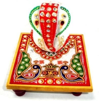 Ishita Handicrafts Meenakari Ganesh Marble Pooja Chowki