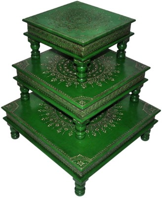 Lal Haveli Ethnic Royal Painted Pooja Wooden All Purpose Chowki