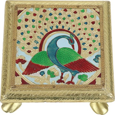 Milano Wooden Pooja Chowki(Gold, Pack of 1)