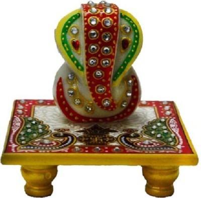Shopile Best Gift Lord Ganesha Marble All Purpose Chowki