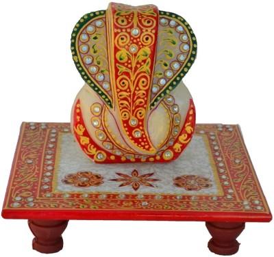 eCraftIndia Delightful Lord Ganesha on Kundan Studded Marble All Purpose Chowki
