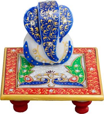 eCraftIndia Glorious Lord Ganesha with Peocock Marble Pooja Chowki