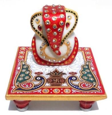 Anshul Fashion Meenakari Ganesh Peacock Marble Marble All Purpose Chowki