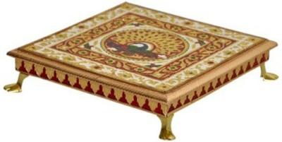 RaGa Craft Minakari - 8 Inch Wooden Pooja Chowki(Multicolor, Pack of 1)