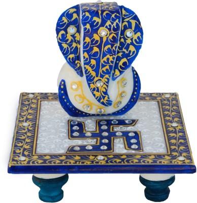 eCraftIndia Riddi Siddhi with Blue Swastik Marble All Purpose Chowki