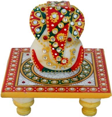 eCraftIndia Lord Ganesha on Kundan Studded Marble All Purpose Chowki