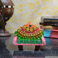eCraftIndia Royal Chowki for Mandir(Temple) Wooden, Ceramic Pooja Chowki(Pink, Green, Gold, Red, Pack of 1)