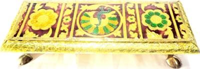 Sanshiv Wooden Meenakari Chowki Wooden All Purpose Chowki(Gold)