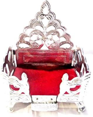 Sanshiv White Metal Singhasan Silver Plated Pooja Chowki(Silver, Pack of 1)