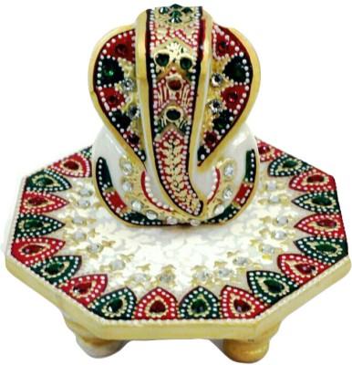 Traditional Rajasthan Ganesh Marble Pooja Chowki