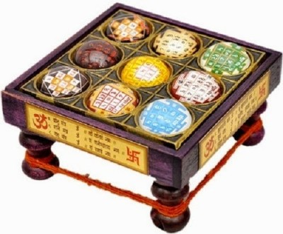 Vastughar Nav Graha for Prosperity and Luck Wooden All Purpose Chowki(Multicolor, Pack of 1)
