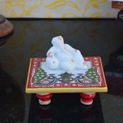 eCraftIndia Lord Ganesha resting on Marble Chowki Marble, Polyresin All Purpose Chowki