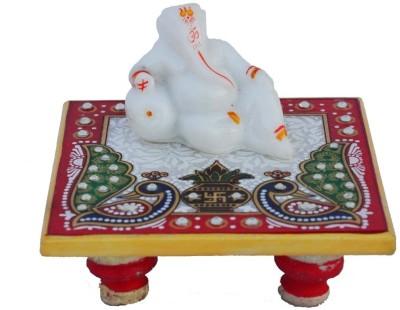 eCraftIndia Lord Ganesha resting on Marble Chowki Marble, Polyresin All Purpose Chowki(White, Blue, Red, Green, Pack of 1)