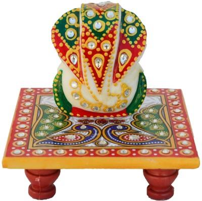 eCraftIndia Lord Ganesha on Peocock Marble All Purpose Chowki