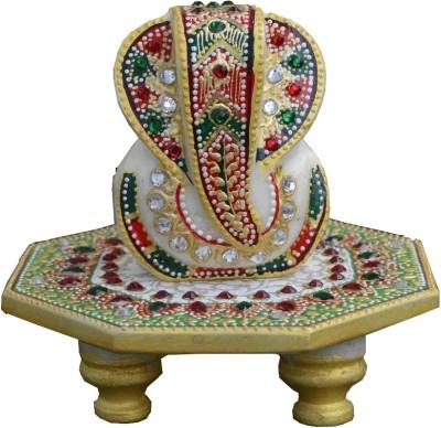 eCraftIndia Lord Ganesha on Stone Studded Round Marble Pooja Chowki